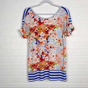 Matilda Jane Floral Striped Top Short Sleeve Small